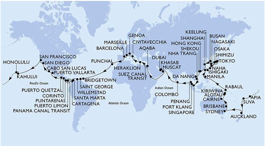 Vuelta al mundo MSC Cruceros 2023