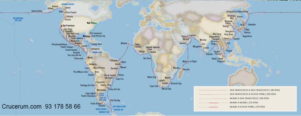 Vuelta al mundo Oceania Cruises 2023